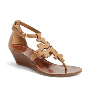 Tory Burch Chandler Tan Wedge Sandals